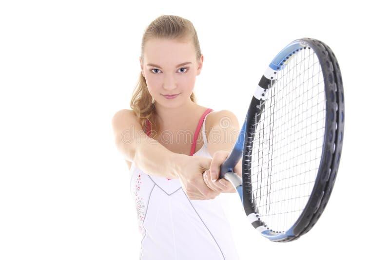 Muchacha deportiva atractiva con la estafa de tenis foto de archivo