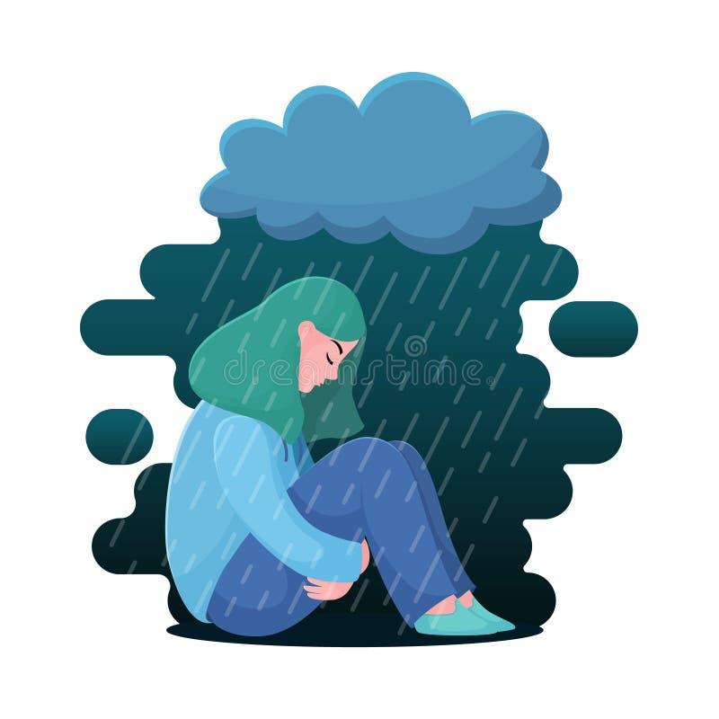 Muchacha deprimida, mujer que se sienta debajo de la nube de lluvia libre illustration
