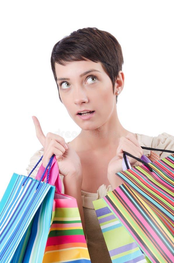 Muchacha después de la juerga de compras foto de archivo libre de regalías
