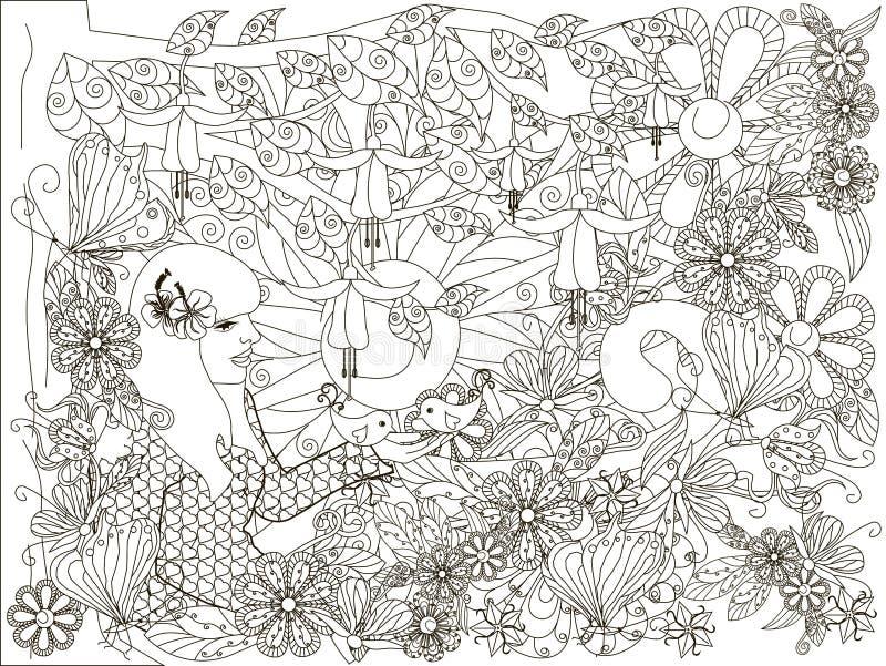 Muchacha dibujada mano monocromática del garabato con el pájaro cariñoso, fondo de las flores, lorem ipsum libre illustration