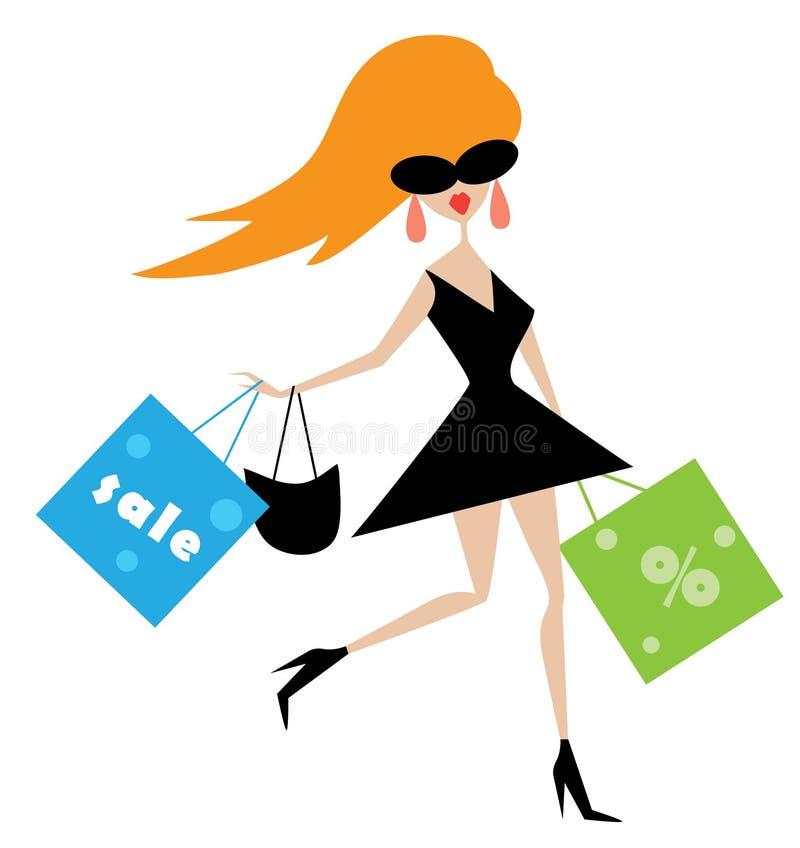 Muchacha divertida con los bolsos de compras stock de ilustración