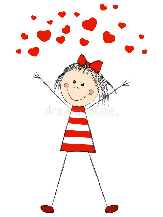 Muchacha divertida con los corazones stock de ilustración