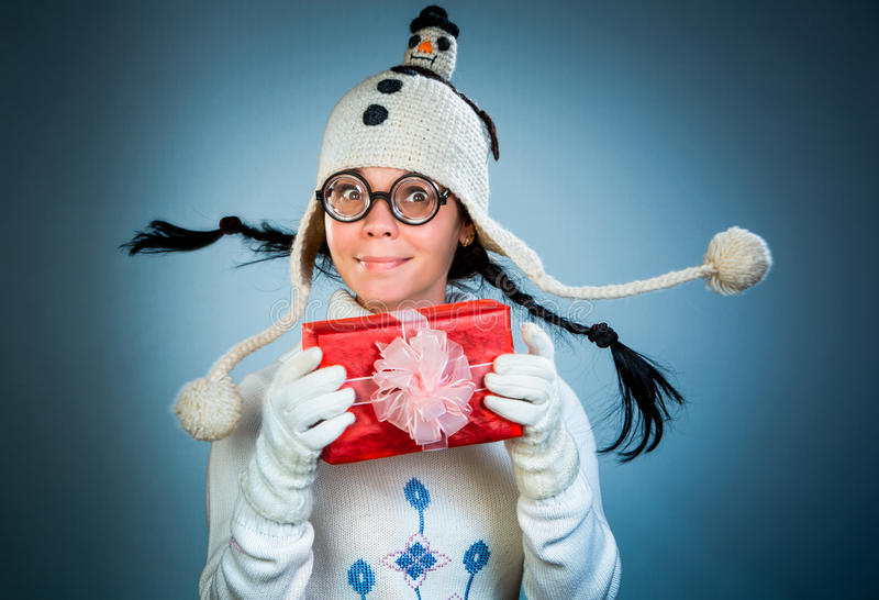 Muchacha divertida de la Navidad fotos de archivo
