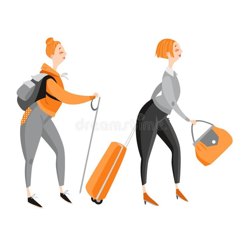 Muchacha divertida feliz de la historieta que viaja y que camina ilustración del vector