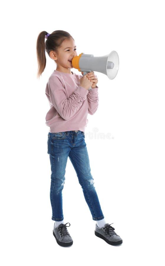 Muchacha divertida linda con el megáfono fotografía de archivo