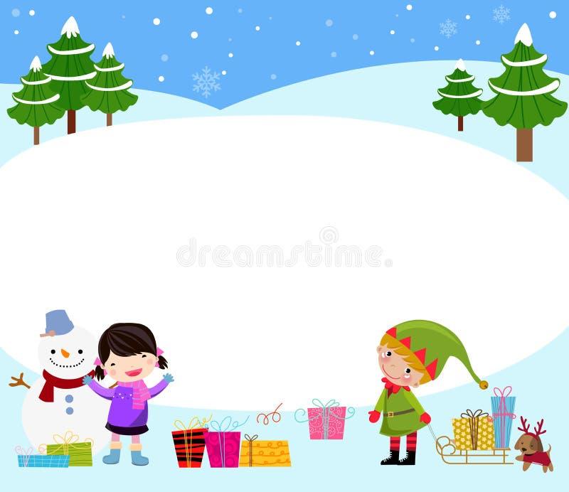 Muchacha, duende y muñeco de nieve libre illustration