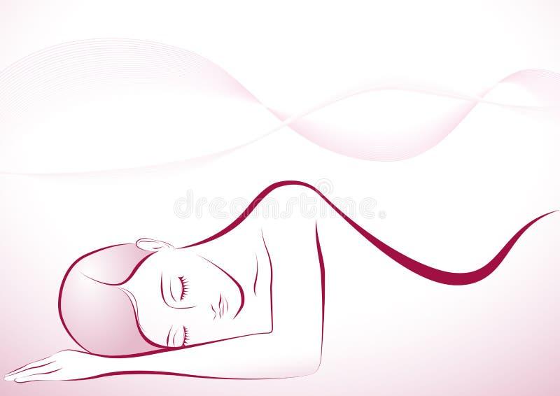 Muchacha durmiente stock de ilustración