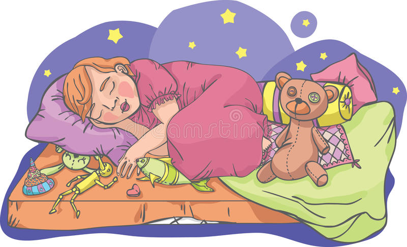 Muchacha durmiente con los juguetes stock de ilustración