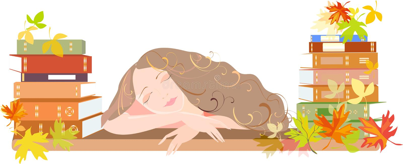 Muchacha durmiente con los libros escolares y las hojas de otoño ilustración del vector