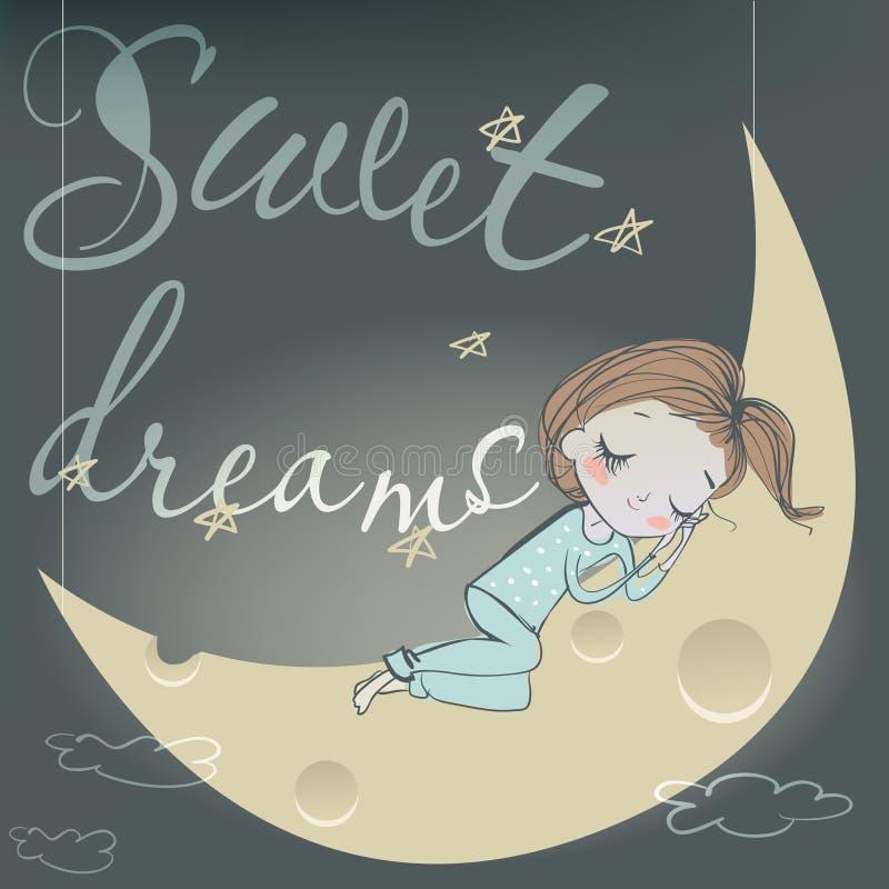 Muchacha durmiente linda en la luna ilustración del vector