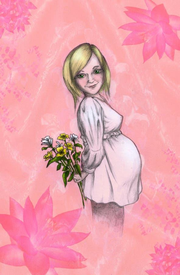 Muchacha embarazada stock de ilustración