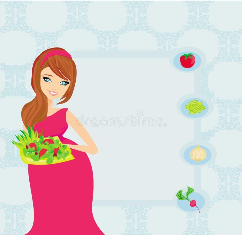 Muchacha embarazada con una placa de la ensalada ilustración del vector