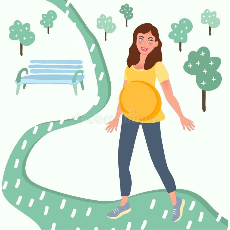 Muchacha embarazada que camina en el parque de la ciudad Muchacha embarazada del ocio Maternidad, esperando al beb? o ilustración del vector
