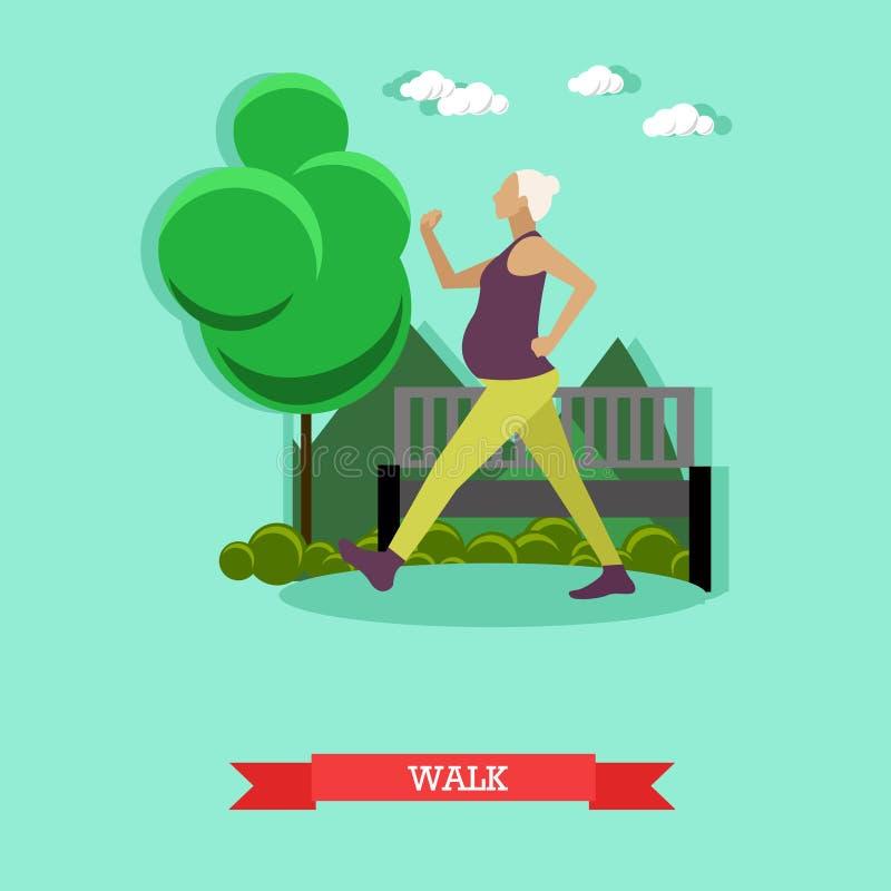 Muchacha embarazada que camina en el parque Forma de vida sana Diseño plano libre illustration