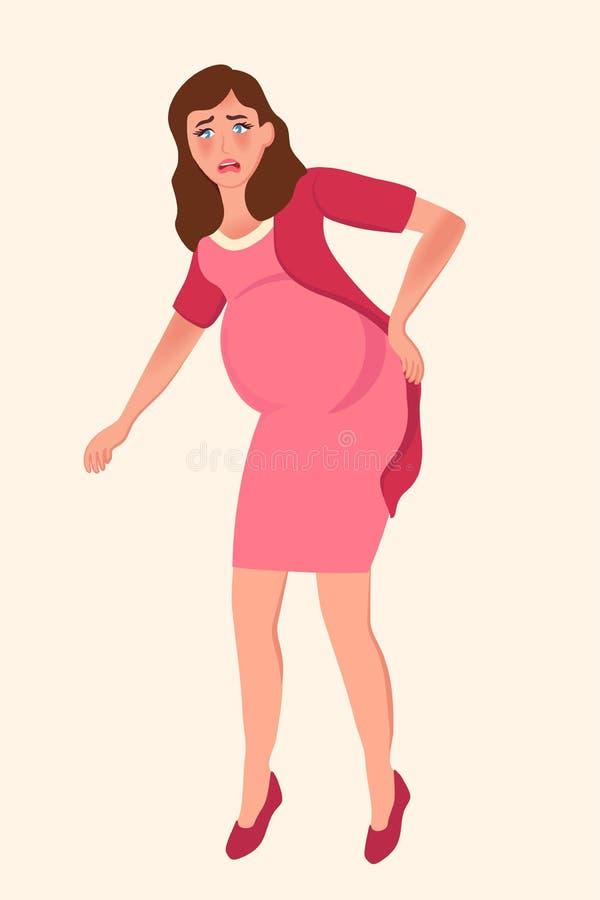 Muchacha embarazada que la detiene más de espalda Complicaciones en último embarazo Ejemplo del vector de la maternidad, espera libre illustration