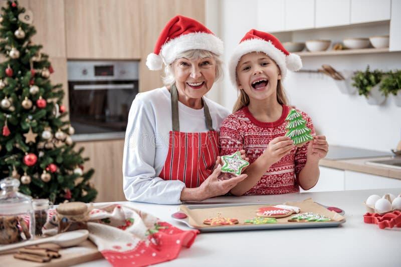 Muchacha emocionada que celebra la Navidad con su abuela imagen de archivo libre de regalías