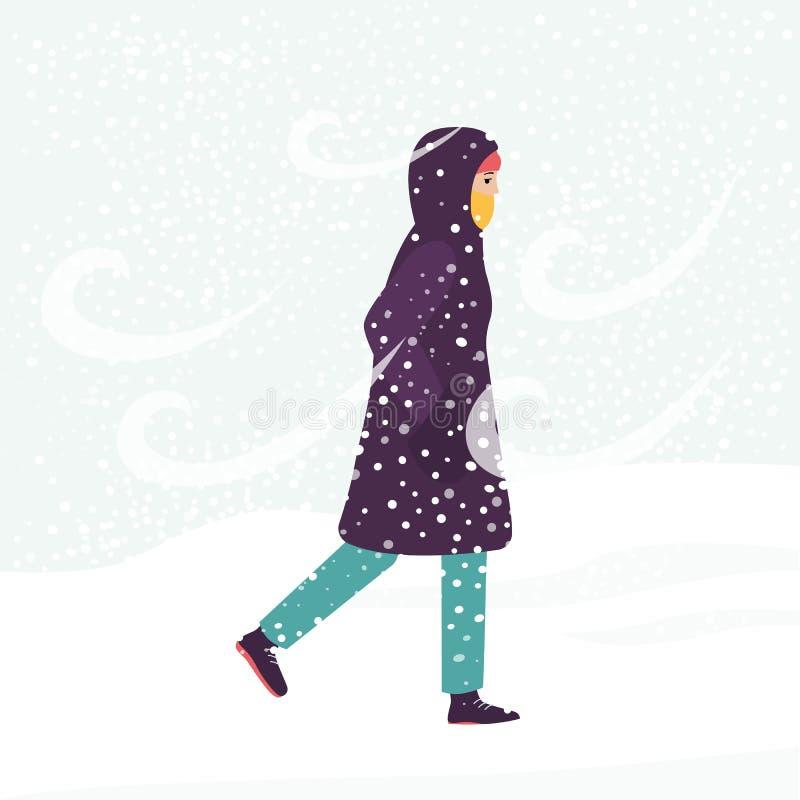 Muchacha en abrigo de invierno que camina a través del viento frío y de la ventisca de la nieve libre illustration