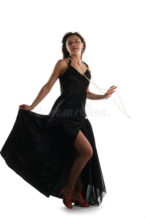 Muchacha en alineada negra fotografía de archivo libre de regalías