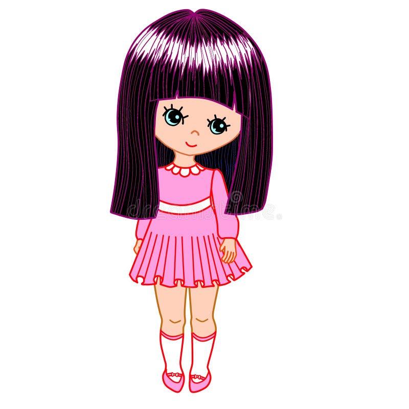 Muchacha en alineada rosada stock de ilustración