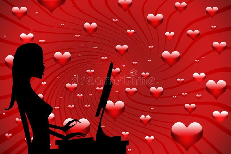 Muchacha en amor en el Internet ilustración del vector