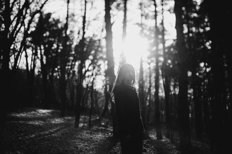 Muchacha en atmósfera de la puesta del sol fotografía de archivo