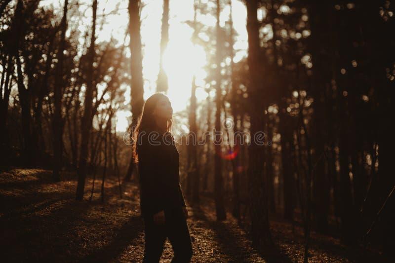 Muchacha en atmósfera de la puesta del sol foto de archivo libre de regalías