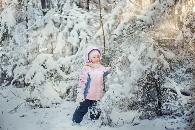 Muchacha en bosque del invierno fotos de archivo