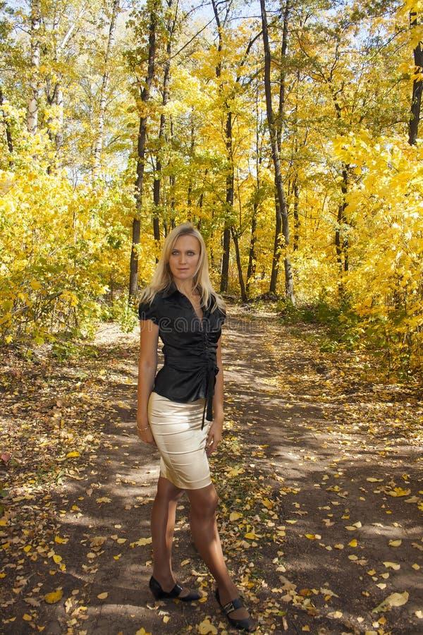Muchacha en bosque del otoño imagen de archivo libre de regalías