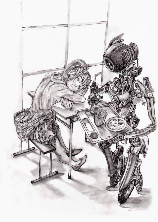 Muchacha en café, camarero del robot ilustración del vector