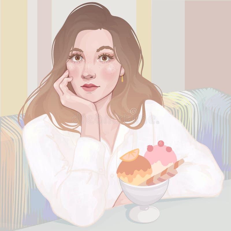 muchacha en café del helado stock de ilustración