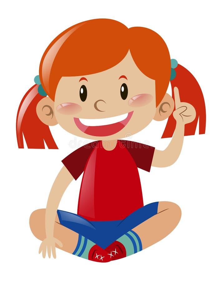 Muchacha en camisa roja que señala el finger stock de ilustración