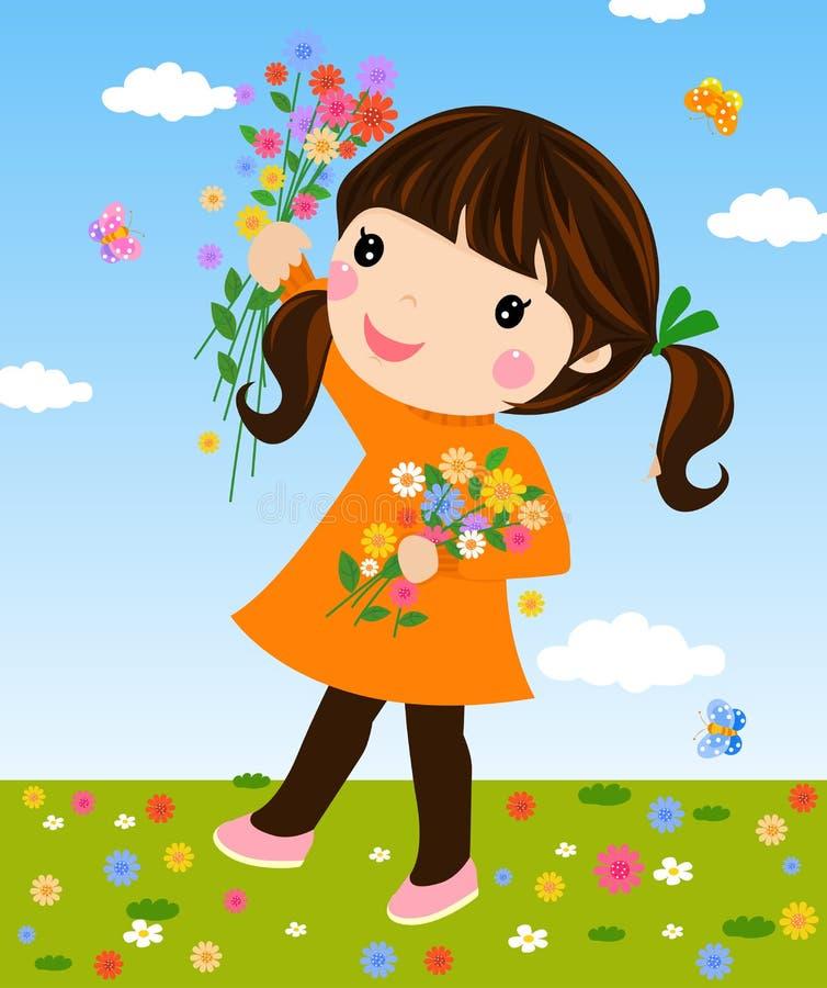 Muchacha en campo con las flores libre illustration