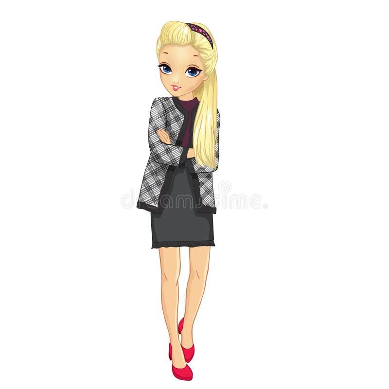 Muchacha en chaqueta y falda del estilo del negocio libre illustration