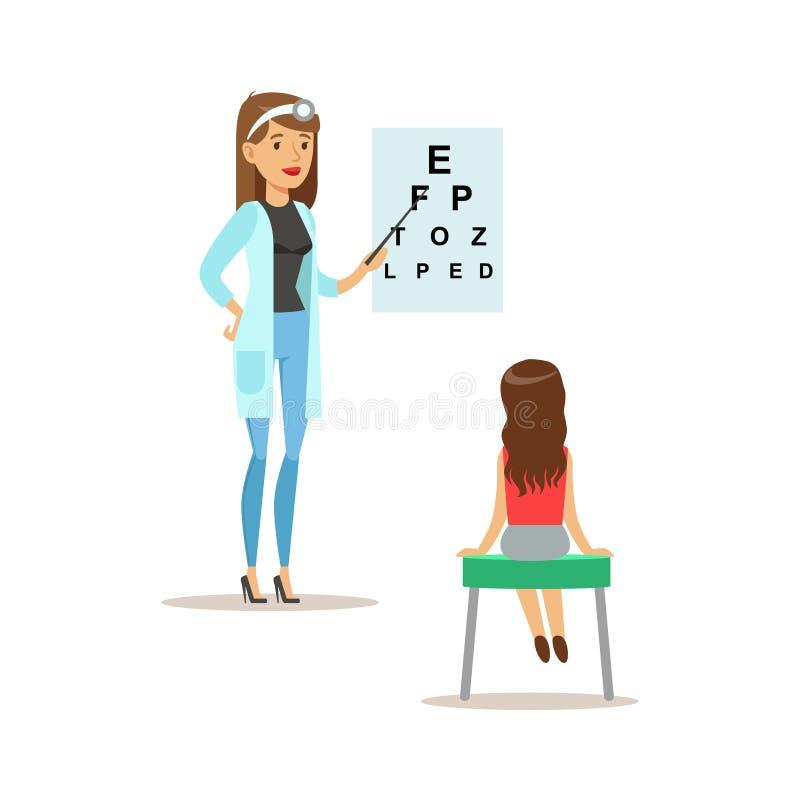 Muchacha en chequeo médico de la vista con el doctor de sexo femenino Doing Physical Examination del pediatra para la salud del p libre illustration