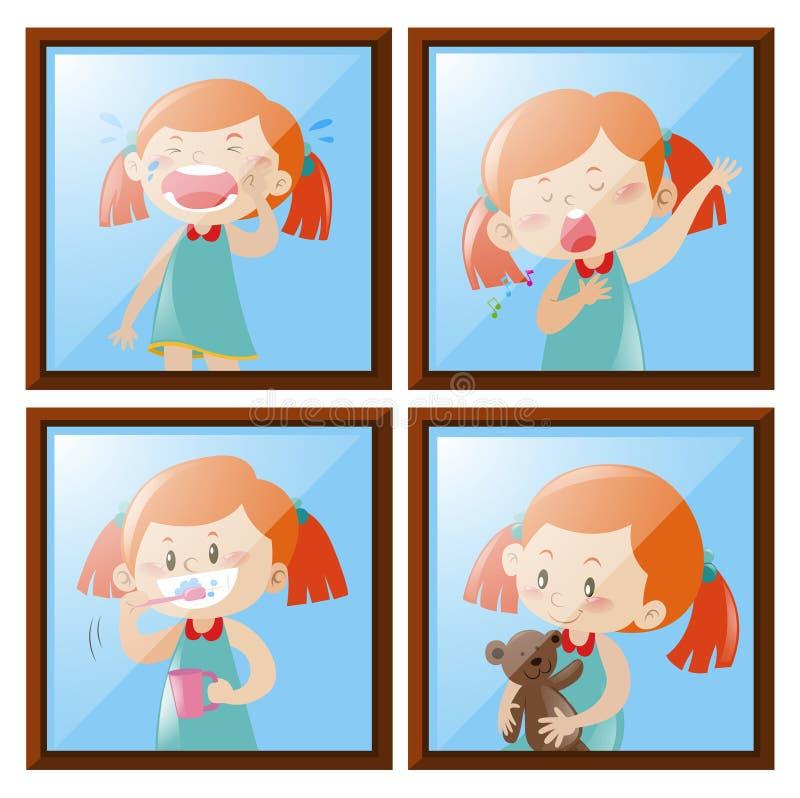 Muchacha en cuatro diversas acciones ilustración del vector