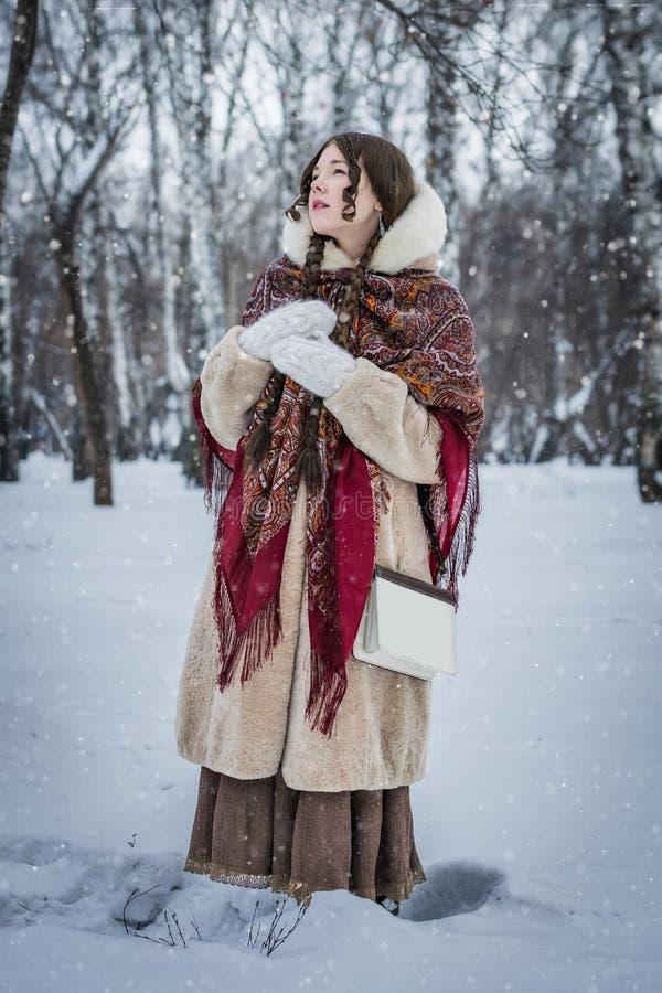 Muchacha en día de invierno frío del buen humor al aire libre en un parque nevoso imagen de archivo