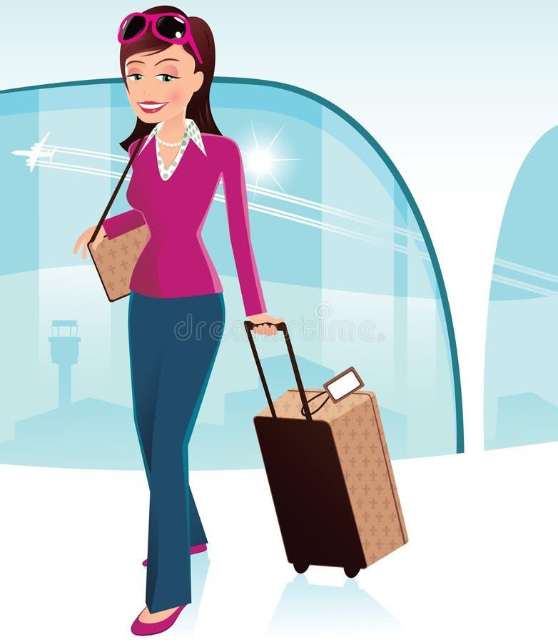 Muchacha en el aeropuerto ilustración del vector