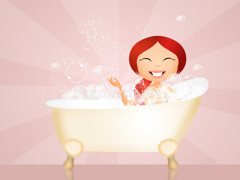 Muchacha en el baño stock de ilustración