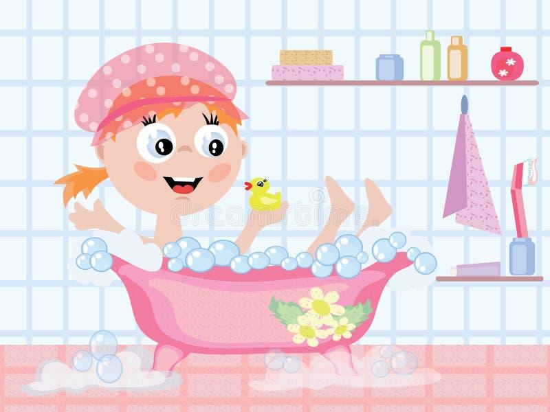 Muchacha en el baño CMYK ilustración del vector