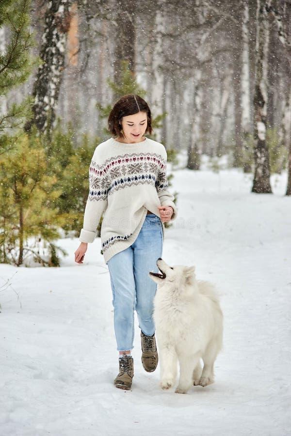 Muchacha en el bosque del invierno que camina con un perro La nieve está cayendo imagen de archivo