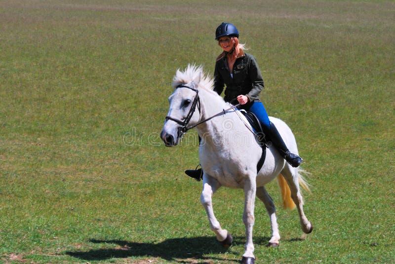 Muchacha en el caballo blanco fotos de archivo libres de regalías