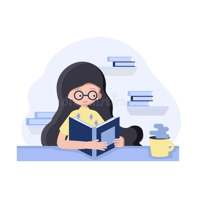 Muchacha en el estilo plano que se sienta en la tabla con el libro y el café de consumición libre illustration