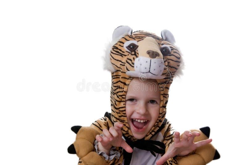 Muchacha en el juego del tigre fotos de archivo libres de regalías
