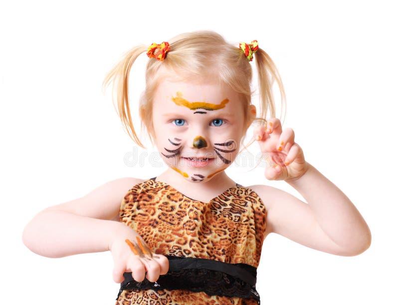 Muchacha en el juego del tigre fotos de archivo