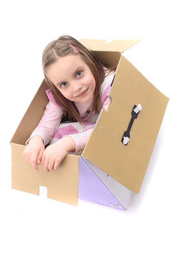 Muchacha en el rectángulo de papel imagen de archivo libre de regalías