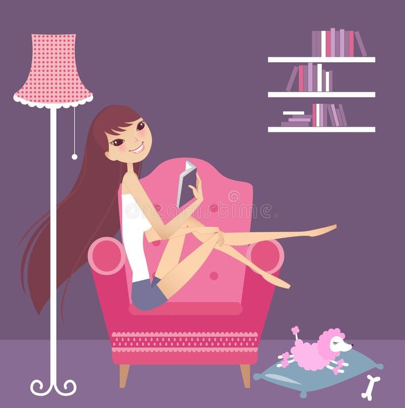 Muchacha en el sofá stock de ilustración