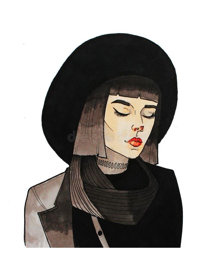 Muchacha en el sombrero ilustración del vector