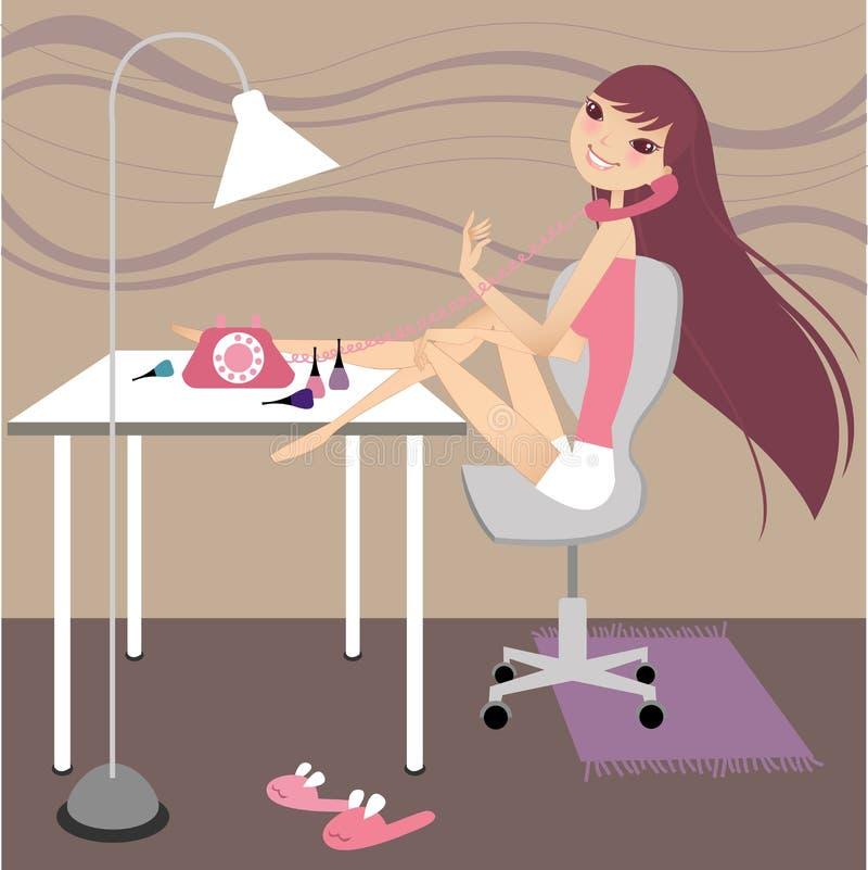 Muchacha en el teléfono stock de ilustración
