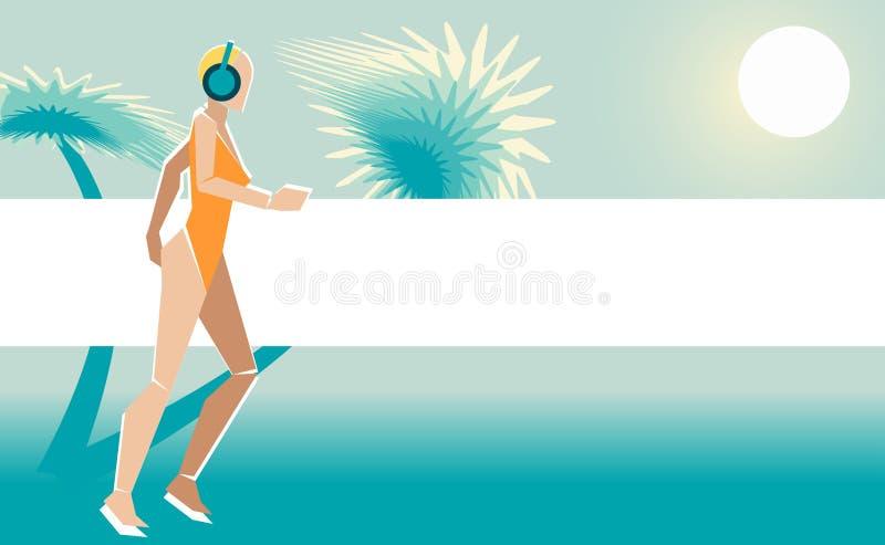 Muchacha en el traje de baño que corre en la playa libre illustration