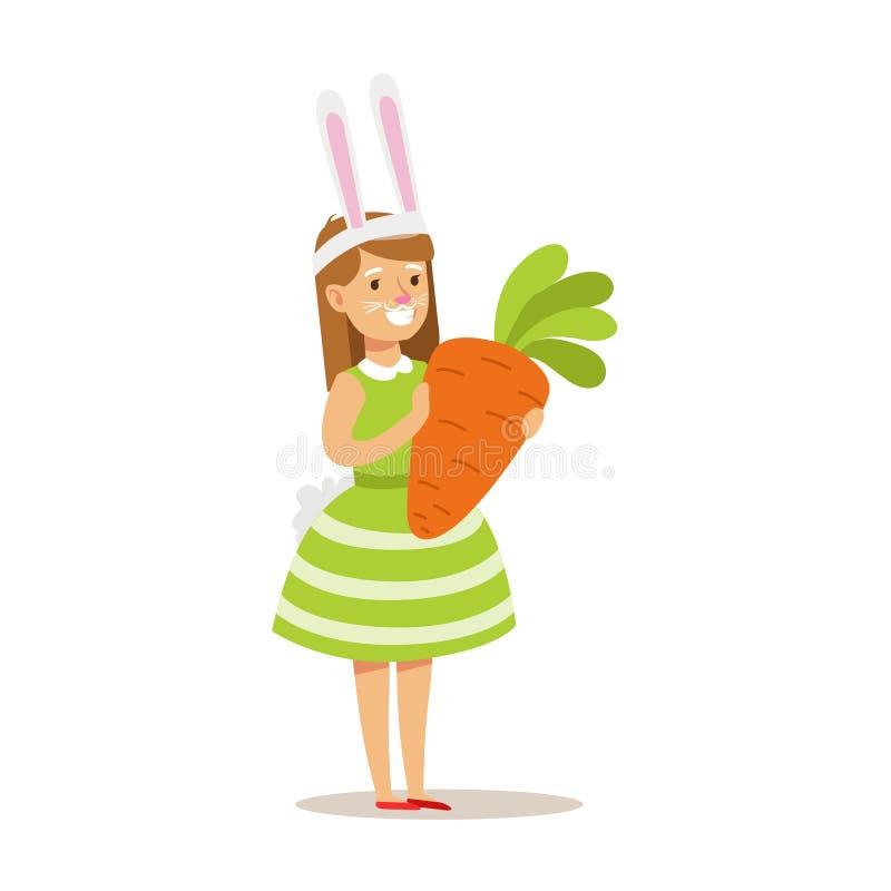 Muchacha en el traje del conejo que sostiene la zanahoria gigante, niños en el ejemplo del partido del traje con el niño sonrient stock de ilustración